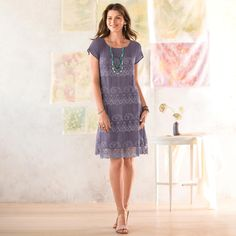 MIDSUMMER'S LACE DRESS -- Simple, and so pretty, our lacy slip of a dress is perfect for so many summer occasions. Silk georgette shapes a sheer yoke and brief sleeves above layers of lacy embroidery, all in smoky blue-gray. Our exclusive lace dress has a fully lined body. Dry clean. Imported. Exclusive. Sizes XS (2), S (4 to 6), M (8 to 10), L (12 to 14), XL (16)