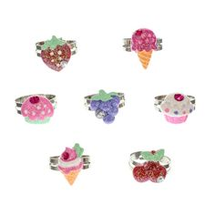 Kids 7 Pack Glitter Rings