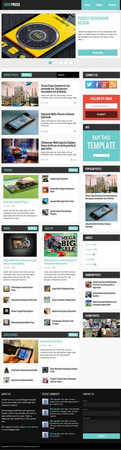 Geek Press template was designed as a flat and responsive Blogger template for News and Magazine websites. Geek Press is very easy to work without touch to code, it will help you publish your small news / magazine projects as the fastest way ever.