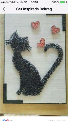 Cat and hearts Cat and hearts Nail String Art, String Crafts, Yarn Crafts, Diy And Crafts, Arts And Crafts, String Art Tutorials, String Art Patterns, Arte Linear, Thread Art