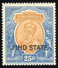 India Jind Convention State 1927-38 George V, two complete sets, two top values n.h., balance l.h. or h.r., fine-v.f. (SG 84-108) (Catalog value £ 413)    Dealer  Cherrystone Auction    Auction  Estimate price:  290.00 US$