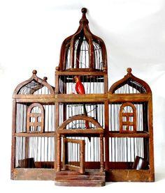#birddecor #vintagedecor #birdhouse Antique Birdcage Victorian Style Wood Bird House by GSaleHunter