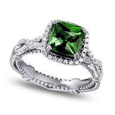 3.25 Ct D/ VVS1 Emerald & Round Green Tourmaline 18K White Gold Engagement Ring by JewelryHub on Opensky