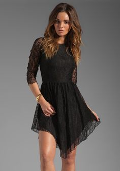 Dolce Vita Alondra Asymmetric Lace Dress in Black