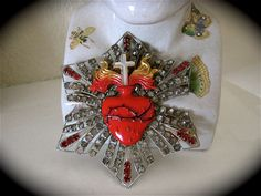 Early 1900's Vintage SACRED HEART Ex Voto Catholic Priest RELIQUARY Adornment