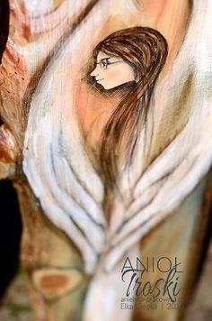 """""""Anioł Troski"""" podarowany dziecku, bez względu na to czy będą to chrzciny, komunia, czy zwykły dzień w roku – zawsze będzie symbolem wsparcia i opieki. Angel Paintings, Guardian Angels, Sculptures, Girls, Movie Posters, Art, Pintura, Toddler Girls, Art Background"""