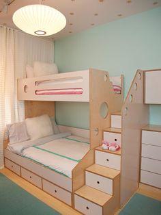 kinderzimmermöbel aus sperrholz furnier-etagenbett mit treppen-schubladen