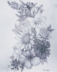 Love this for a tattoo birth flower tattoos, flower sleeve tattoos, floral tattoo sleeves Neue Tattoos, Body Art Tattoos, Drawing Tattoos, Flower Tattoo Drawings, Trendy Tattoos, Cool Tattoos, Tigh Tattoo, Schulter Tattoo, Tattoo Hals