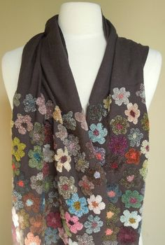 Dynamo Scarf  59 x 19 inches. 14 inches of both ends embroidered with textural flowers on almost black wool wrap. Sophie Digard Dynamo scarf...