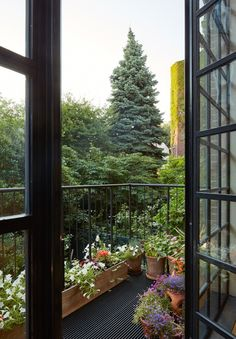 4 story Italianate row Carroll Gardens Townhouse in Brooklyn, New York redesigned by Lang Architecture - CAANdesign Brooklyn Brownstone, Garden Floor, Balcony Garden, Terrace, Balcony Ideas, Porches, Outdoor Spaces, Outdoor Living, Outdoor Ideas