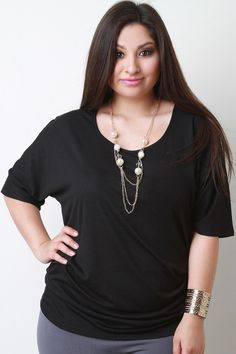 Texture Dolman Sleeve Necklace Top
