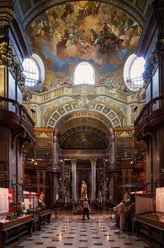 The Austrian National Library . located in the Hofburg Palace in Vienna.