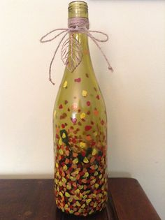 Hand Painted Wine Bottle Light