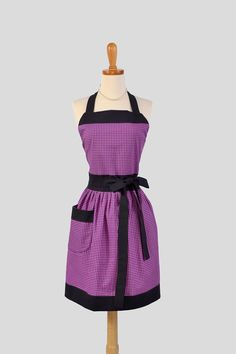 Womens Bib Full Apron . Full Kitchen Apron Handmade in Michael Millers Rose and Charcoal Gray Perfect for Monogram or Personalization. $38.00, via Etsy.