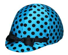 Helmet Covers Etc, English and Western Riding Helmet Covers. Stretch fit for all helmet styles - Turquoise Polka Dots.  www.helmetcovers.com