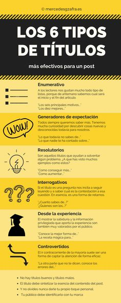 Conoce en la infografía adjunta los seis tipos de títulos más efectivos para un post.   #infografia #blog #web #contentmarketing #marketingdecontenidos #marketingdigital #marketingonline #socialmediamarketing #post #artículo