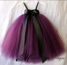 Eggplant Tutu Dress/ Plum Tutu Dress / Plum Flower Girl Tutu Dress/ Eggplant Flower Girl Dress (Possibility in different size)Eggplant Tutu Dress/ Plum Tutu Dress / Plum by ManaiaBabyDesigns. Ivory bow instead of blackEggplant tulle attaches to a black cr Plum Flower Girl Dresses, Girls Tutu Dresses, Flower Girl Tutu, Tutus For Girls, Flower Girls, Party Dresses, Pageant Dresses, Tutu Skirts, Tutu Outfits