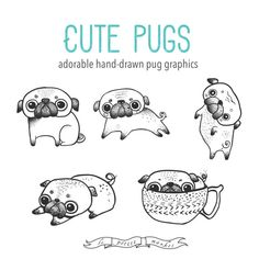 Hand Drawn Cute Digital Pug Clipart Illustration by LePetiteMarket ~ Available…