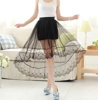 Women's Vintage Perspective Gauze Skirt Elastic Waist Lace Embroidery
