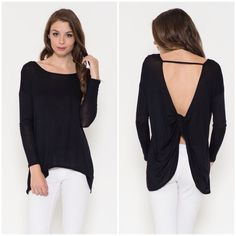 """""""Timeless"""" Backless Long Sleeve Top Black long sleeve backless top with a twist back. Brand new with tags. Bare Anthology Tops"""