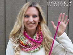 DIY Tutorial Free Pattern Super Simple Easy Beginner Finger Crochet (Crochet with Just Your Fingers!) Make an Infinity Scarf or Neck Cowl with YouTube Video by Donna Wolfe from Naztazia with YouTube Tutorial Video More Info on http://naztazia.com