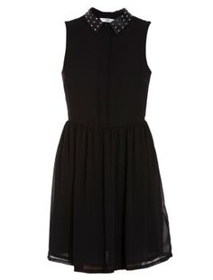 Black (Black) Black Studded Collar Dress | 258051201 | New Look