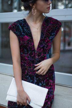 Velvet Dress and Statement Earrings