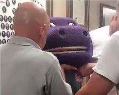 Trussville firefighters had to rescue 15-year-old Darby Risner after she got stuck in a giant Barney head while trying to scare her friends. (Special to AL.com)
