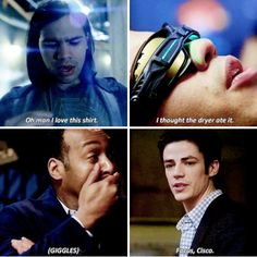 """I thought the dryer ate it"" - Cisco (Dreaming), Joe (LOL!) and Barry #TheFlash"
