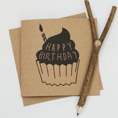 Happy Birthday Card 13.5x13.5 cm Cupcake card by OldEnglishCo, £2.95