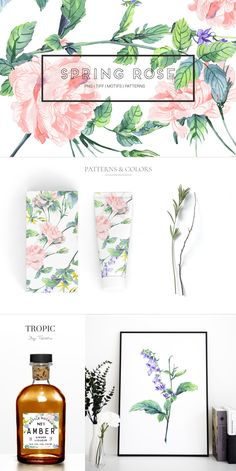 Presenting Spring Rose, a hand painted watercolor rose pattern with elegant and high resolution elements in subtle tones, perfect for a wide range of products Graphic Design Pattern, Graphic Patterns, Watercolor Rose, Watercolor Artwork, Banner Design Inspiration, Flower Installation, Pattern Illustration, Box Design, Box Art