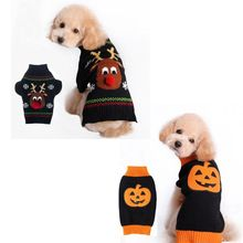 2016 Pet Dogs Cats Christmas ELK Halloween Pumpkin Clothes Pet Cats Dogs Sweaters Pet Dogs Cats Transfiguration Clothing V30(China (Mainland))