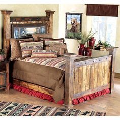 Sunset Camp Bear Barnwood Bed - Queen