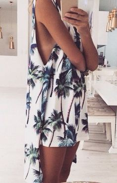 #street #style / summer palm print dress
