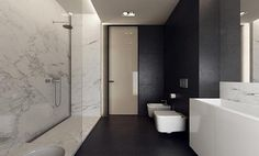 Beautiful black + marble bathroom -Tamizo Architects