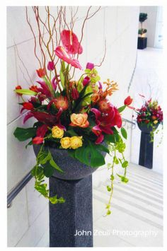 Tall Tropical Floral Centerpieces | Taste for the Tropical: Harvey Designs, Event and Floral Design ...