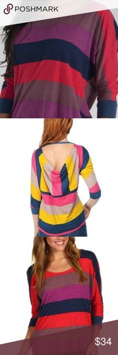 """Splendid Multistripe Color Block Drape back Raglan Splendid Multi stripe Color Block open back Raglan Top Splendid Color block rugby tunic. Size S is about 20 """" flat across underarms and 25"""" long. Super soft cotton modal blend. Wide color block stripes in Navy blue, red, purple, plum. Size Small. Wide neck,  Sexy deep plunging back and bat wing raglan 3/4 length sleeves. Made in USA Great Splendid quality. Splendid Tops"""