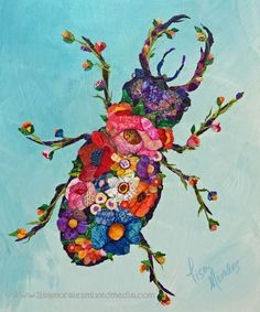 Botanical Beetle - Mixed Media Collage by Lisa Morales