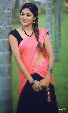 Beautiful Girl Indian, Most Beautiful Indian Actress, Beautiful Saree, Beautiful Ladies, Beautiful Actresses, Saree Poses, Half Saree Designs, Blouse Designs, Half Saree Lehenga