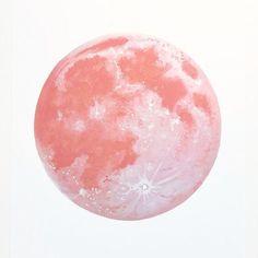 Pink Moon Print Dreamy Moon Print Red Moon Moon Art by BirchBliss