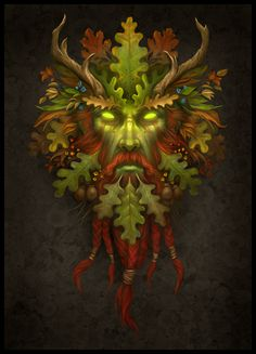 The Greenman Cernunnos/Herne the Hunter. Green Man By Artist Howard Lyon. Green Man Tattoo, Herne The Hunter, Pagan Art, Nature Spirits, Celtic Art, Nature Tattoos, Gods And Goddesses, Wiccan, Magick