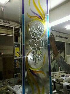 Texture Base Glass And Fusion Design Glass Etching Designs, Glass Painting Designs, Paint Designs, Glass Shower Doors, Sliding Glass Door, Glass Doors, Tv Wall Decor, Room Decor, Fused Glass