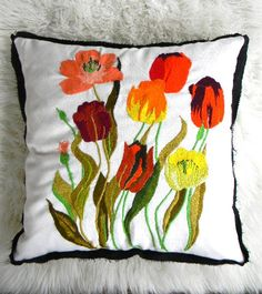 vintage flower embroidered reversible pillow cover by pillowhappy, $75.00