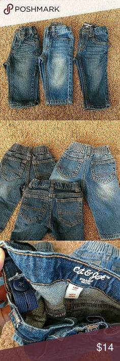 Baby boy jeans You get... Two pair of Cherokee jeans One pair of Cat and Jack jeans 12 months Bottoms Jeans