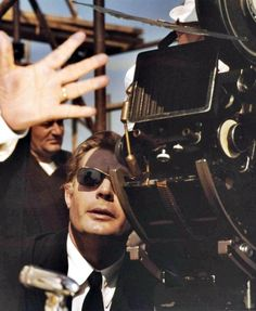 Marcello Mastroianni on the set of Fellini's 8 and 1/2 (I think) a mastrepiece!