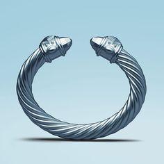 Cable Reimagined: David Yurman limited-edition Renaissance bracelet in periwinkle aluminum.