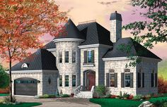Lovely 3 bedroom Tudor home with office in the turret.  Tudor House Plan # 181623.