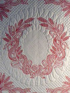 Cindy Needham - Detail of work on vintage French redwork linen. <3 <3 <3