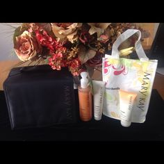 Mary Kay Travel Roll Up Bag & Peach Satin Hand Set New never used roll up bag and peach satin hands pampering set.  Only selling together.  Accepting offers  No trades. Mary Kay Makeup