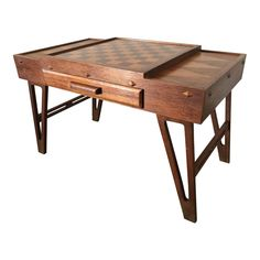 This vintage game table is simply stunning. The table features an integrated chess board / checkerboard design with 2 drawers on both sides. Clean lines, and beautifully detailed legs make this a timeless piece of modern design. Modern Game Tables, Modern Games, Modern Dining Room Tables, Teak Dining Table, Modern Side Table, Pool Table Parts, Vintage Games, Table Games, Modern Materials